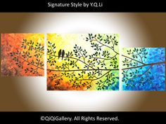 """Abstract Landscape Painting Original Modern Heavy Texture Impasto Palette Knife Tree Wall Décor """"Sunset and Love Birds III"""""""