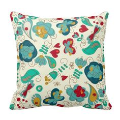 Cute Whimsical Floral Spring is in the Air. Birds, butterflies, flowers, hearts and paisley.  Turquoise teal, blue and red are the main colors.  This pretty throw pillow adds a cheerful touch to your home decor.