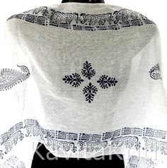 Wood block stamp long cotton scarf White cotton by KavitaKriti