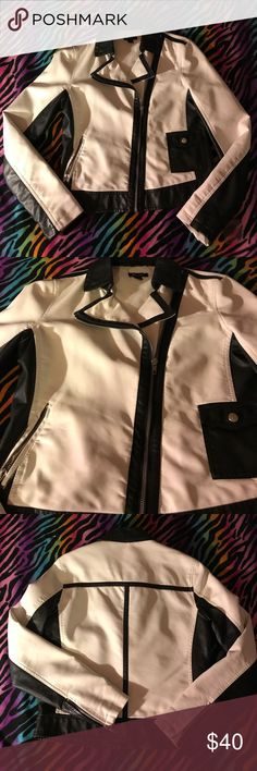 White/Black faux Leather jacket ⛄️ Beautiful black/white styled jacket with zippers and pockets. It just doesn't fit me. Offers Welcome! ⛄️ Ronson Jackets & Coats