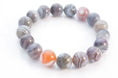 botswana agate bracelet  simple elastic stretch  by VitaGems