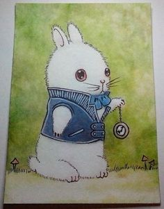 ACEO-Painting-fantasy-funny-animal-cute-little-rabbit-hare-banny