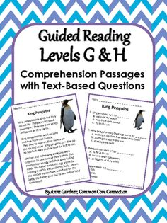 Reading Comprehension Passages for Guided Reading Levels G and H from Common Core Connection on TeachersNotebook.com (47 pages)