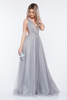 f5d16eb4a58a Ana Radu occasional net grey dress with v-neckline bow accessory, bow  accessory,