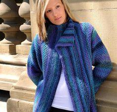 Weekend Jacket Sweater Knitting Kit featuring James C Brett Marble Chunky Yarn | Craftsy
