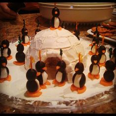 my Family tradition- Olive penguins and Cheeseball Igloo