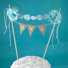 $27+$3.55 shipping. Birthday Cake banner Burlap Aqua Blue ONE C315 by Hartranftdesign