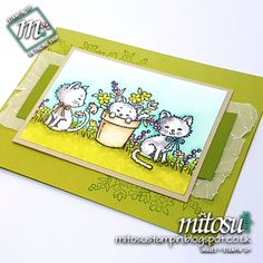 Pretty Kitty for Paper Craft Crew Tic-Tac-Toe Challenge Pretty Kitty, Pretty Cats, Cute Cats, Cat Cards, Kids Cards, Wrapping Paper Crafts, Animal Cards, Stamping Up, Stampin Up Cards