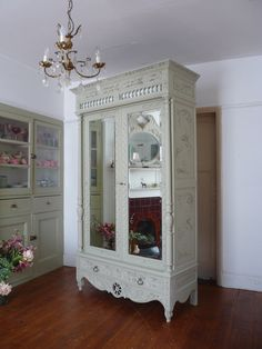 An authentic antique Breton French armoire dating from the early French Armoire, French Mirror, French Furniture, Vintage Furniture, Mirror Door, China Cabinet, Decorative Accessories, Cupboard, Dating
