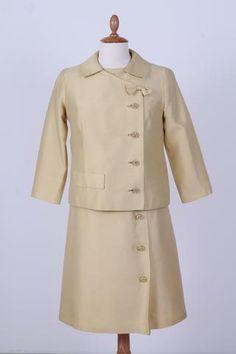 Solgt vintage tøj - Lysegul cocktailkjole med jakke 1960. S-M - Solgt - Vintage Divine - 1