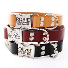 Classic Personalized Leather Dog Collar