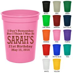 Party Favor Cups (Clipart 19119) Too Drunk To Remember My 21st - Birthday Party Cups - Personalized Birthday Favors - Birthday Stadium Cups