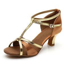 New Salsa Brand tango heeled satin dancing girls women  ballroom latin shoes ladies 5CM and 7CM brown color dancing for girl