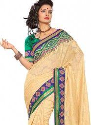 Cream Embroidered Work Bhagalpuri Silk Designer Saree