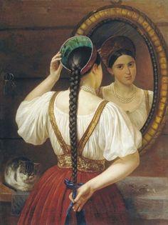 Венец — это девичий головной убор, его носили с косой.Девушка в зеркале. 1848, Филипп Осипович Будкин