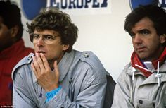 This was Wenger during his first match in European competition as Monaco manager - a victory over Valur Reykjavik in 1988