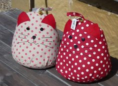 Vintage Shabby Chic Polka Dot Red Cream Spotty CAT with Bell Fabric Door Stop