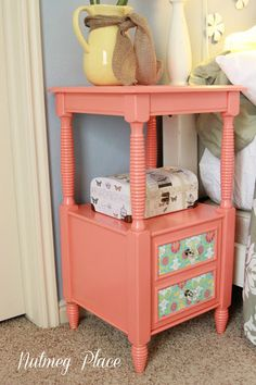 Colorful nightstand makeover