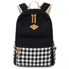 Cool! Fresh Girl's Canvas Wave Point Splicing Black White Plaid Large College Travel Backpack just $33.99 from Atwish.com! I can't wait to get it!