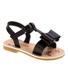 Black Bow-Embellished Sandal