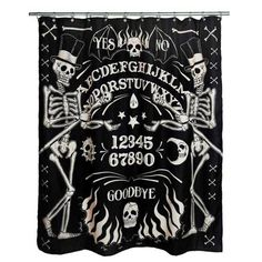 Skeleton Ouija Occult Shower Curtain