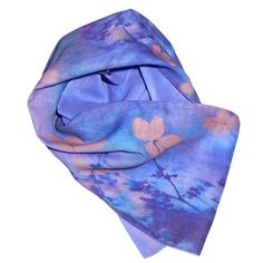 Add blissful beauty to your look in a soft organic art scarf with dreamy blue+pink flowers. Luxury organic scarves by Beau Monde Organics, for mindful style. Made in LA
