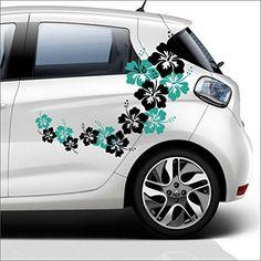 2 fleurs d'hibiscus colorés set – à gauche à droite pour les voitures60x80cm autocollant Vinyle Décalque sticker pegatina…