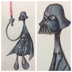 Darth Vader  Star Wars  Watercolor illustration by spaghettikiss, $20.00