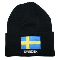 54d3e92373 Scandinavianshoppe.com - Sweden Flag Knit Hat Winter Cap - One Size Fits All