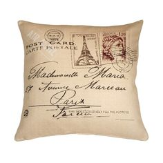 Pillow Decor Postcard to Paris 24x24 Throw Pillow (93 CAD) ❤ liked on Polyvore featuring home, home decor, throw pillows, pillows, cushions, other, parisian home decor, eiffel tower home decor, paris throw pillows and post card