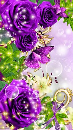 Purple flowers with sparkles
