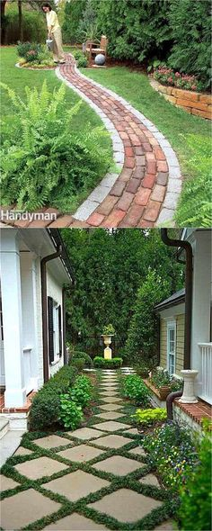 25 best DIY friendly & beautiful garden path ideas and helpful tips from a profe. 25 best DIY friendly & beautiful garden path ideas and helpful tips from a Backyard Walkway, Front Yard Landscaping, Paver Walkway, Backyard Ideas, Landscaping Rocks, Patio Steps, Hard Landscaping Ideas, Rock Walkway, Courtyard Landscaping