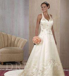 Halter Wedding Dress Plus Size Chapel Train at Dressvy.com