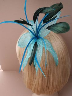 Blue Fascinator with large mesh fabric flower by ClarasBoutiqueUSA, $19.00