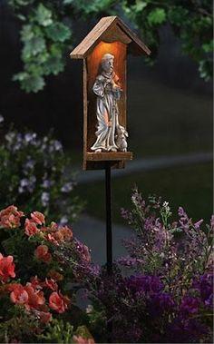 saint shrine outdoor | Solar Lighted St. Francis Garden Shrine Lawn Stake