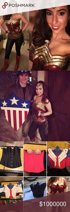 Just showing off our home made costumes! Wonder Woman and Captain America go on a date for Halloween  Other