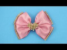 Passo a passo: Laço duplo com pontas e manta de strass/DIY Satin ribbon - YouTube