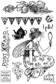 Fairy Rhymes Set of Cling Stamps by Jodie Lee for Prima Marketing