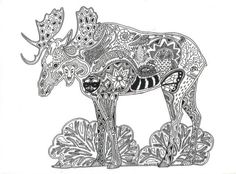 Moose: strength, self-esteem, maturity Animal Spirit Tangle Unique coloring page…