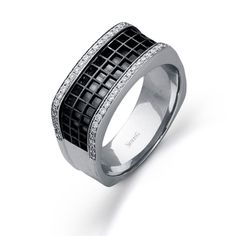 Men's Collection - This impressive 14K white and black mens band is comprised of .35ctw round white Diamonds. - MR2169