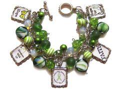 Cerebral Palsy Awareness Altered Art Charm Bracelet Green | PaleMoonCreations - Jewelry on ArtFire www.artfire.com Gorgeous