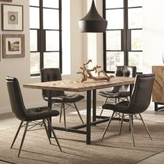 Scott Living Thompson Bohemian Table and Chair Set - Coaster Fine Furniture Rectangular Dining Set, Dining Room Table Set, Farmhouse Dining Room, Coaster Fine Furniture, Dining Table Setting, Dining Table Black, Black Dining Table Set, Rustic Table Setting, Dining Table