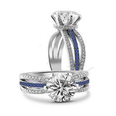 Simulated Diamond & Sapphire Split Shank Engagement & Wedding Ring Size…