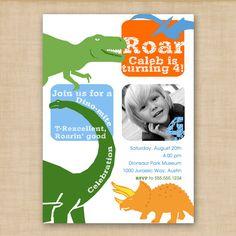 dinosaurs galore printable birthday invitation