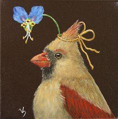 """""""Melanie"""" Cardinal w/Asiatic Dayflower."""