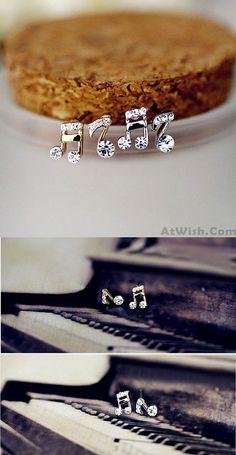 So cool earrings ! Fashion Beat Note Music Doremi Asymmetrical Inlay Crystal Earrings Studs #earring #music #studs