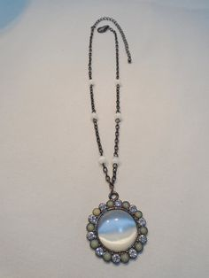 Vintage STUNNING Glass Moonglow Pendant Necklace by KathiJanes