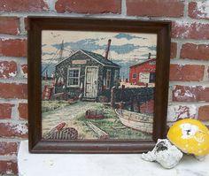 VINTAGE ART - Lobster Shack - Kay Dee hand print - framed linen art - lobster shack - rare rhode island art. $23.00, via Etsy.