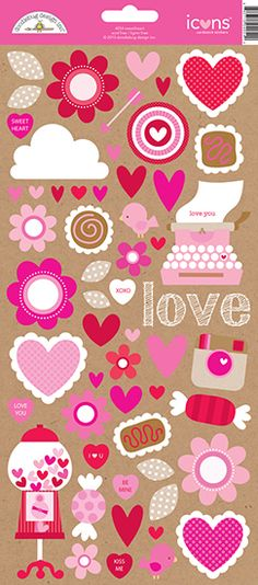 Doodlebug Design - Sweetheart Collection - Cardstock Stickers - Icons