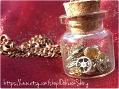 steampunk inspired vial charm necklace